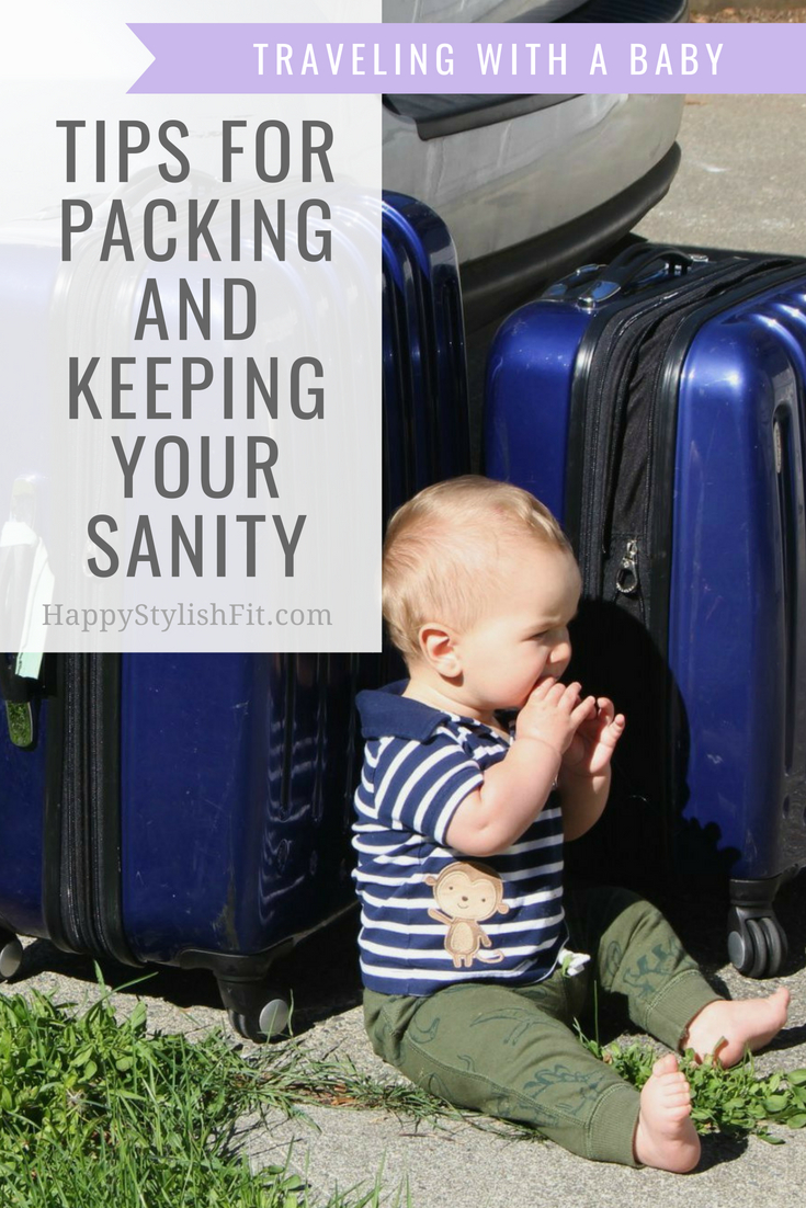 Tips for packing and keeping your sanity while traveling with a baby. #Travel #Baby #TravelingWithABaby #Infant #FamilyVacation #DiaperBag #RoadTrip