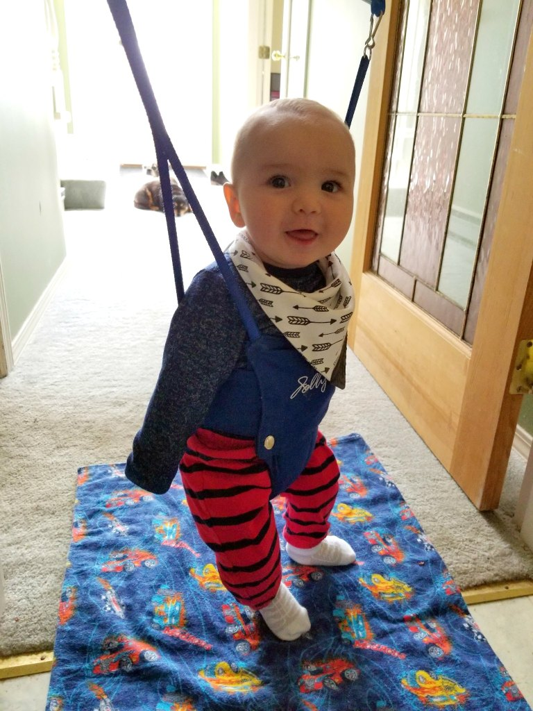 Jolly Jumpers are great for babies to have independent fun and strengthen their legs.