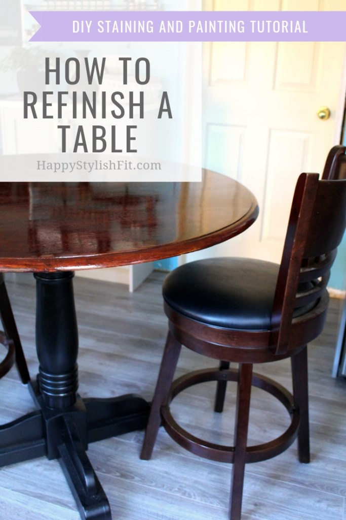 How to refinish a table. DIY project for staining and painting a table. #DIY #HomeDecor #HomeImprovements #KitchenReno