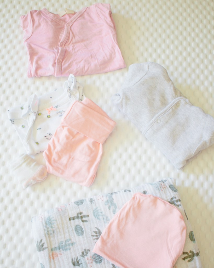 Hospital Bag Checklist - Items for Baby - sleeper, swaddle, going home outfit