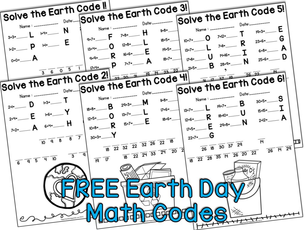 Earth Day Math Codes Collage X768