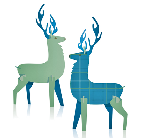 stags as designed by happythough for burns night 25th january 2012