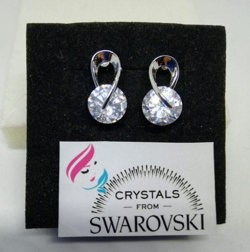 516c0e393d97a6 Orecchini donna punto luce oro bianco placcato e cristalli Swarovski