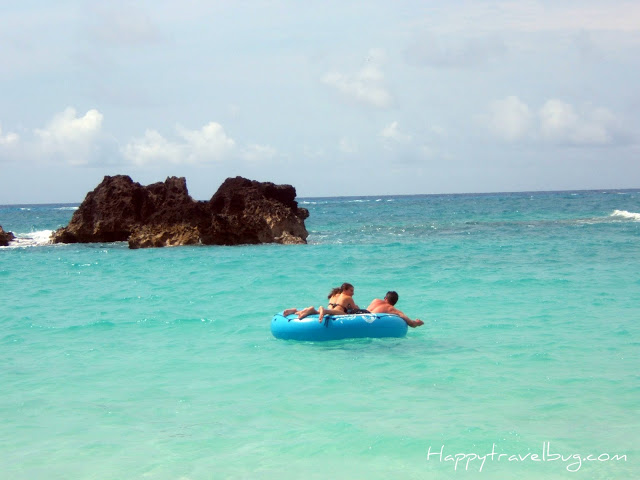 Floating on a raft in the Bermuda ocean