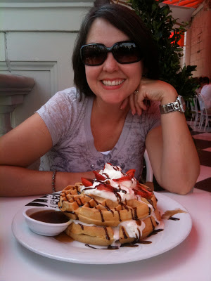 Me with a giant plate of strawberry chocolate waffles