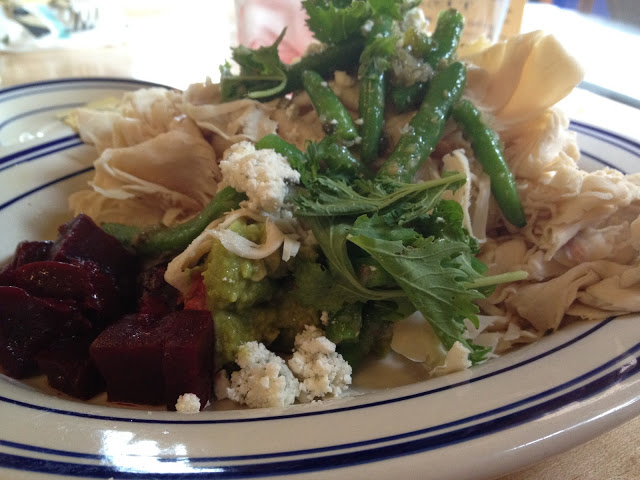 Turkey Salad with avocado, beets, green beans and blue cheese