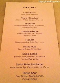 cocktail menu at RPM Italian