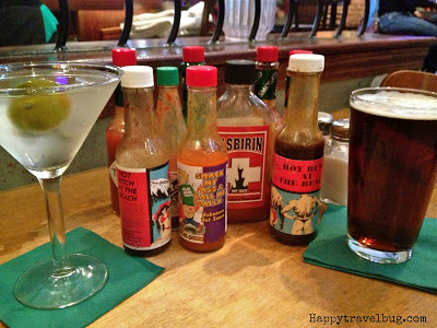Beer, martini and hot sauces