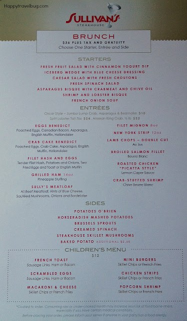 Sullivan's brunch menu