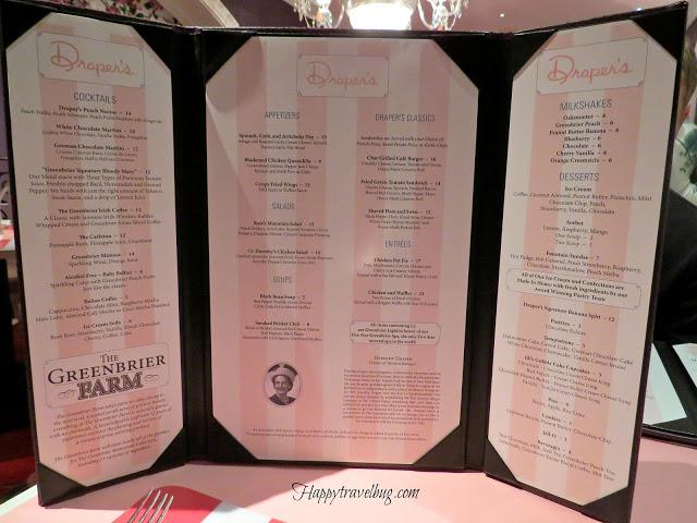 Drapers Restaurant menu