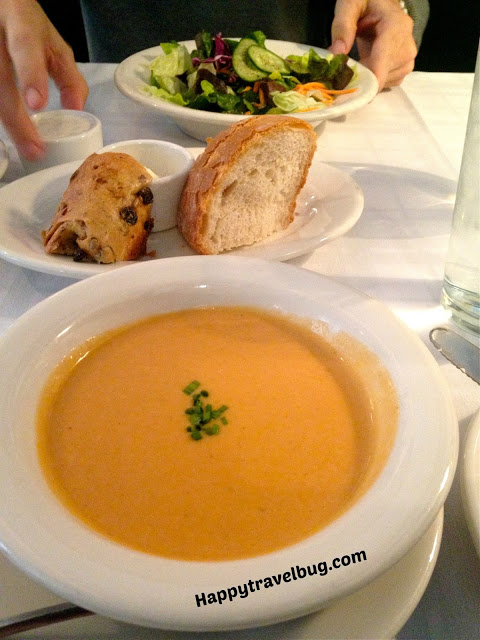 lobster bisque and salad