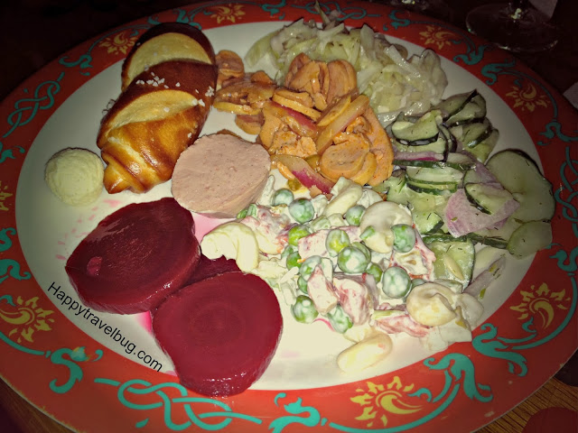 German salad plate at Biergarten restaurant in Epcot