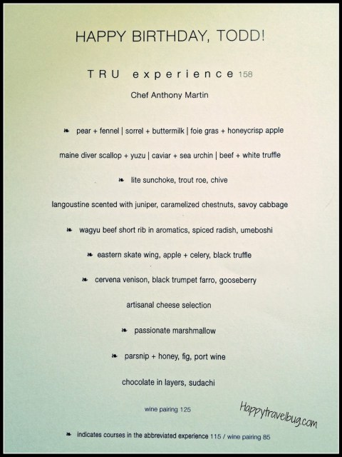 Menu from TRU restaurant in Chicago