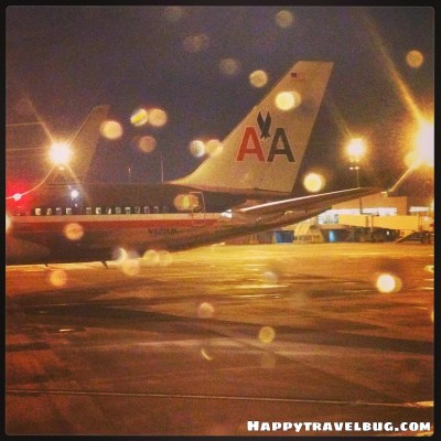 American Airlines plane in the rain