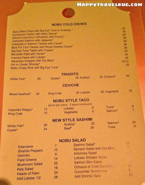 Nobu menu in Las Vegas