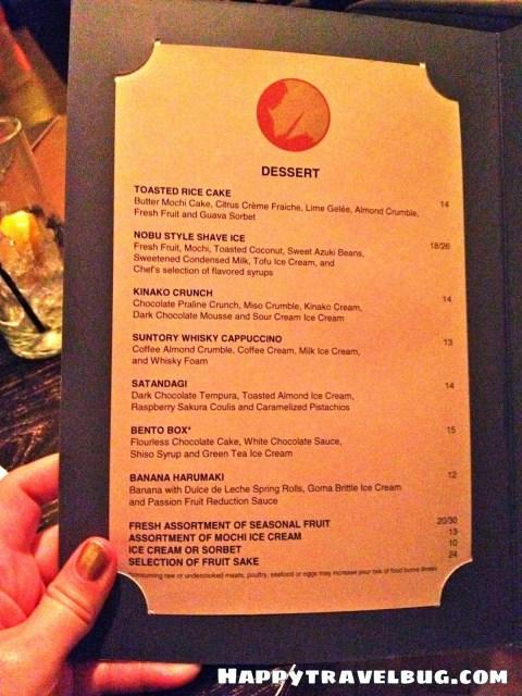 Dessert menu from Nobu restaurant in Las Vegas