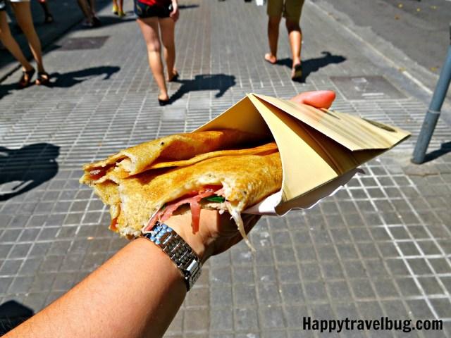My spanish crepe from La Boqueria Market in Barcelona, Spain