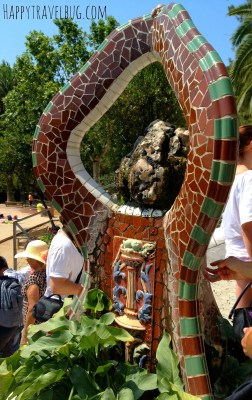 Mosaic fountain at Park Guell in Barcelona, Spain
