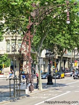 Very detailed city street light in Barcelona, Spain