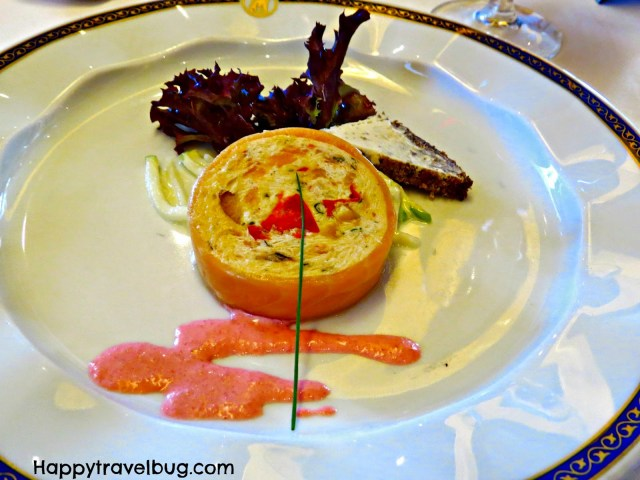 Salmon terrine from dinner on our Holland America cruise