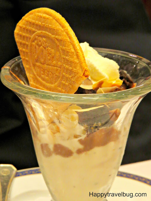 Brownie hot fudge sundae on Holland America cruise
