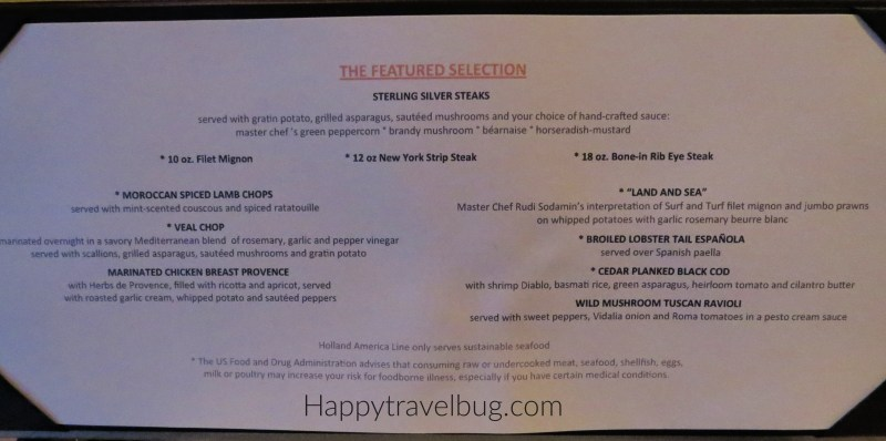 Menu from Pinnacle Grill on Holland America Cruise Line