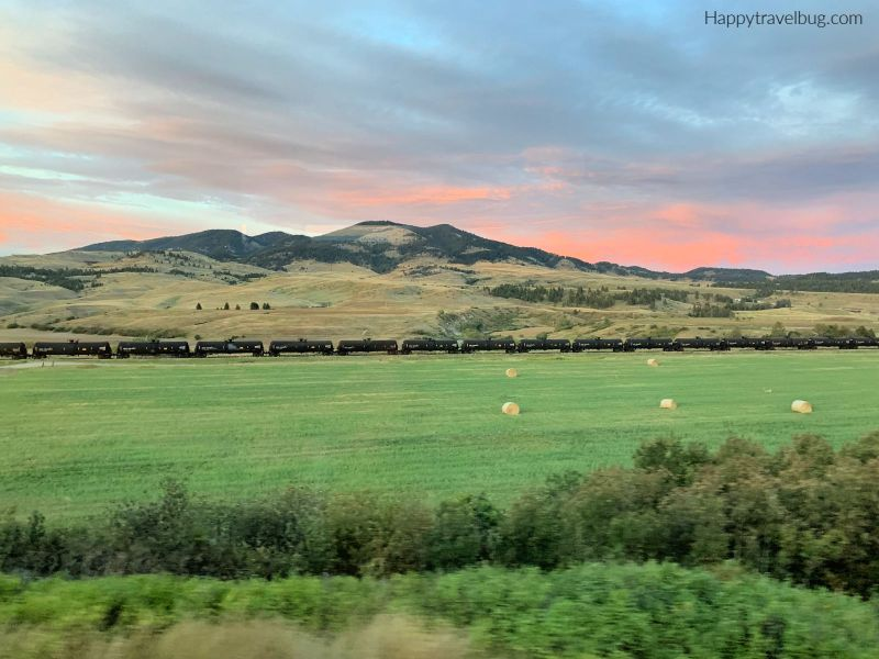 Mountains, valley and train in Montana