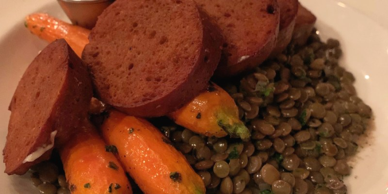 homemade seitan, baby carrots and french lentils