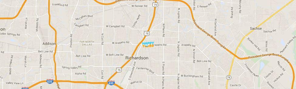 Happy Tubs Location Map - 500 East Arapaho Road #305 Richardson, TX 75081