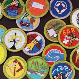 scouting badges on table