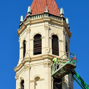 Church Steeple being Repaired