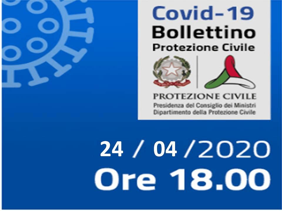 Bollettino Covid-19: i casi in Italia alle ore 18 del 24 aprile