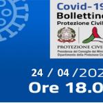 Bollettino Covid-19 i casi in Italia alle ore 18 del 24 aprile