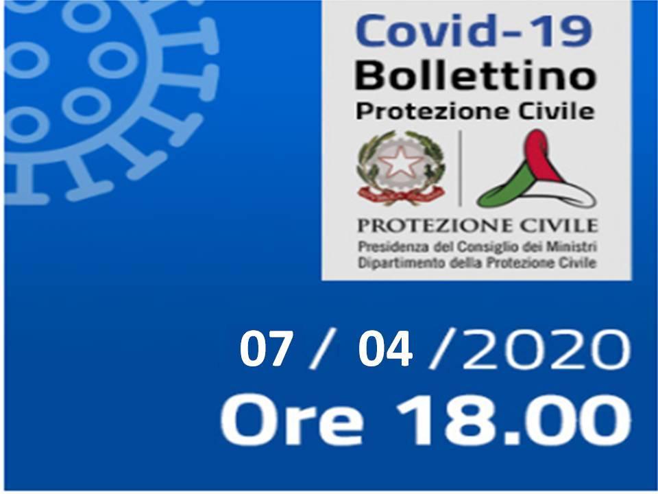 Bollettino Covid-19 - i casi in Italia alle ore 18 del 7 aprile