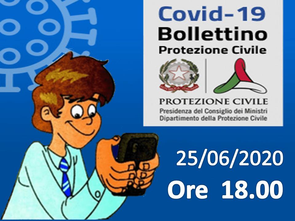 Bollettino Covid-19: i casi in Italia alle ore 18 del 25 giugno