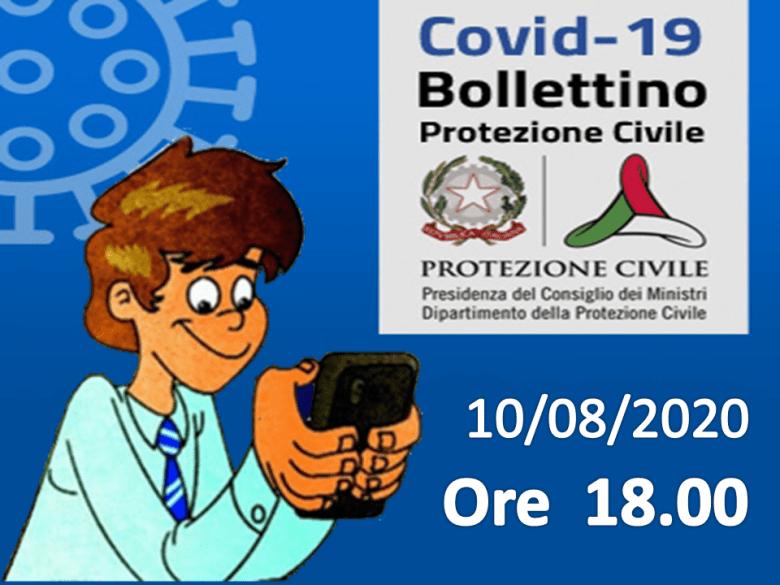 Bollettino Covid-19: i casi in Italia alle ore 18 del 10 agosto