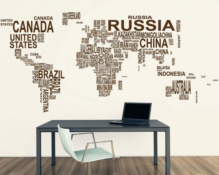 world map country names decal