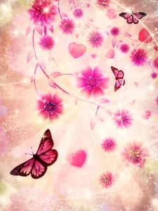Beautiful pink ornament with butterflies and flowers on abstract background.