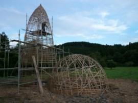 土建築の竹の構造