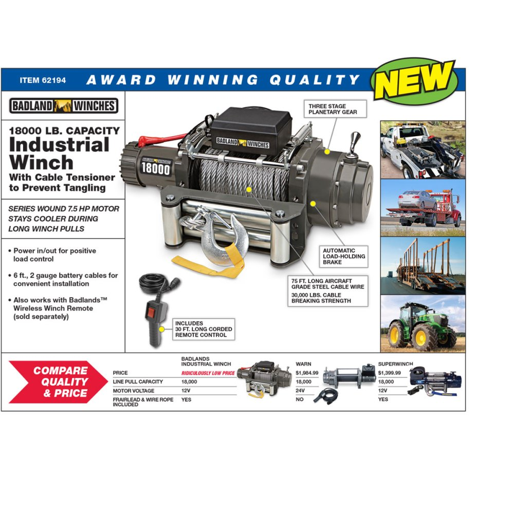 medium resolution of industrial tow truck electric winch with automatic load holding brake