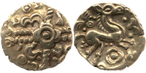 This coin was found with many similar coins, possibly an early deposit that was disturbed by later activity at the site.