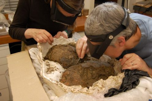 The helmet being conserved