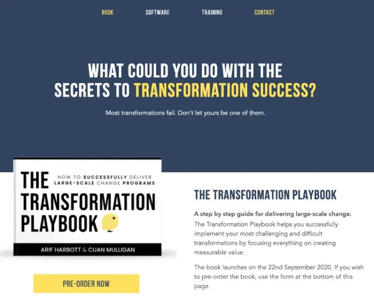 The first version of our dedicated book microsite (www.herotransformation.com)