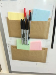 Stationery area attached to the Kanban board