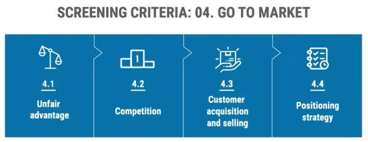 Screen criteria: Go to market