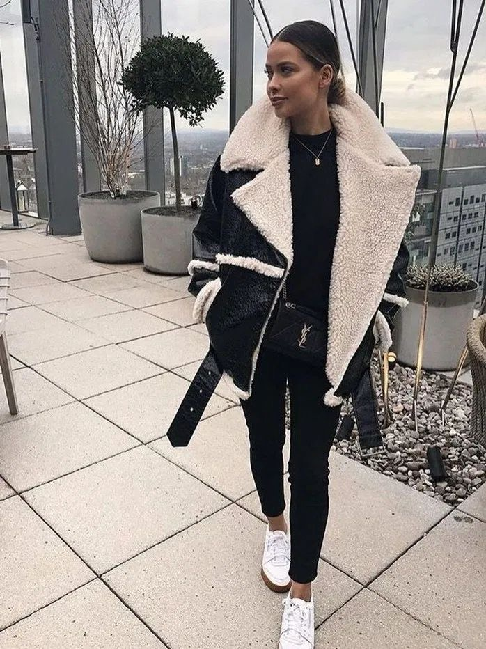 outfit invierno 2020 jacket leather shearling warm women