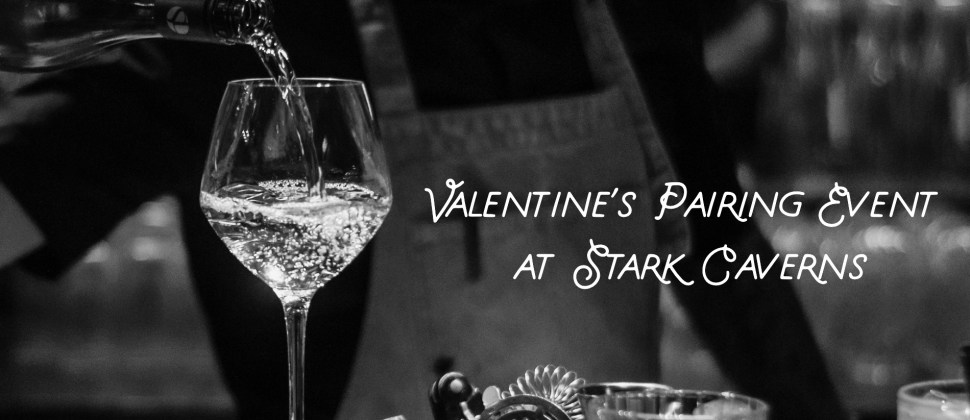 Grey scale man pouring wine into a tall glass with text Valentine's Pairing Event at Stark Caverns