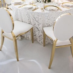 White And Gold Chair Heavy Duty Lawn Chairs Round Back With Trim Harbourside Decorators
