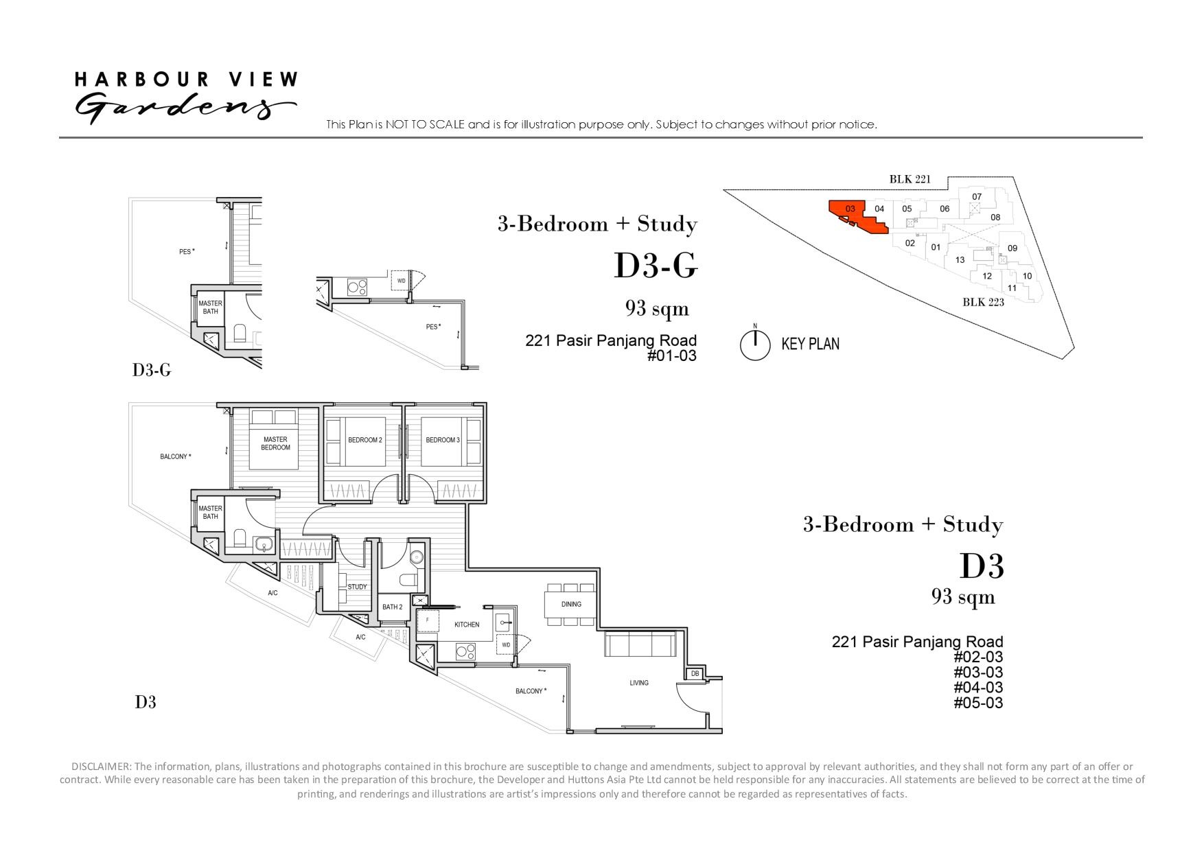 Harbour View Gardens 3 Bedroom + Study Floor Plans Type D3, D3-G