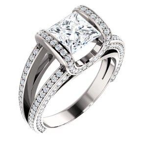 Princess Cut Tension Engagement Ring